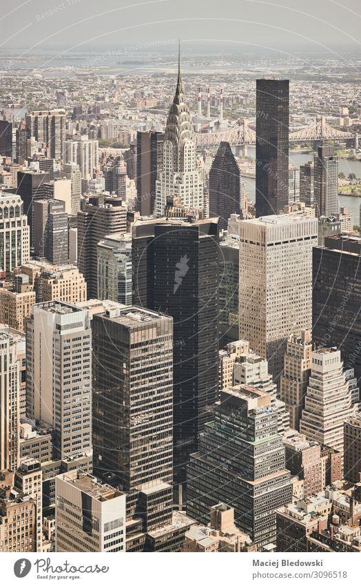 Retrostilisierte Luftaufnahme von New York City, USA. Ferien & Urlaub & Reisen Sightseeing Städtereise Häusliches Leben Wohnung Haus Büro Stadtzentrum Skyline