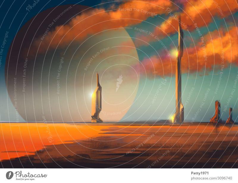 Distant Tower Wolken Horizont Seeufer Strand Planet Skyline Menschenleer Haus Hochhaus Turm Ferne Unendlichkeit blau orange schwarz Sehnsucht Fernweh Weltall