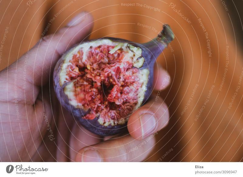 Fleischeslust Lebensmittel Frucht Feige Ernährung Essen Bioprodukte Slowfood Hand Finger frisch Gesundheit lecker saftig Erotik braun violett orange rosa Lust