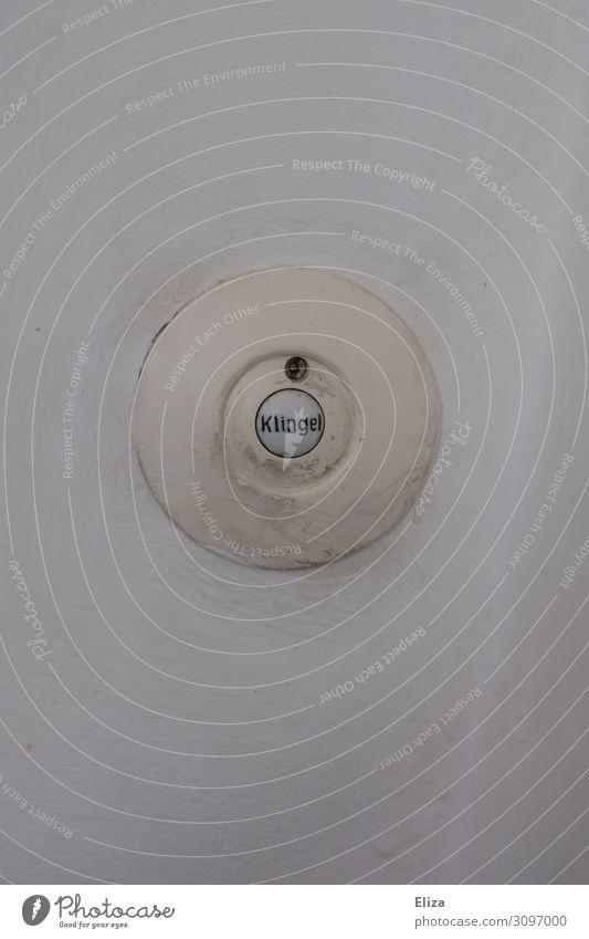 Ding Dong Klingel rund weiß Besucher besuchen Tür Läuten Wand Flur Häusliches Leben Nachbar Ankündigung nervig bimmeln Ankunft kommen signalisieren