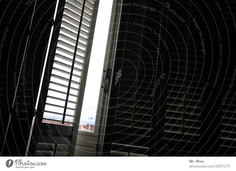 Lass die Sonne rein Ferien & Urlaub & Reisen Häusliches Leben Wohnung Raum dunkel schwarz Müdigkeit Fenster Tür Fensterladen Sichtschutz geschlossen offen