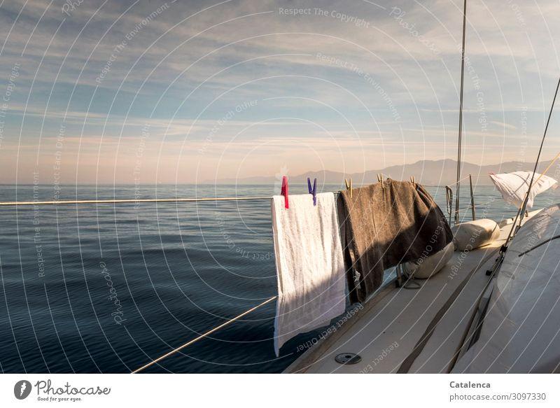 Hautsache | trockene Badetücher Umwelt Landschaft Himmel Wolken Horizont Sommer Schönes Wetter Berge u. Gebirge Meer Jacht Segelschiff Badetuch Handtuch