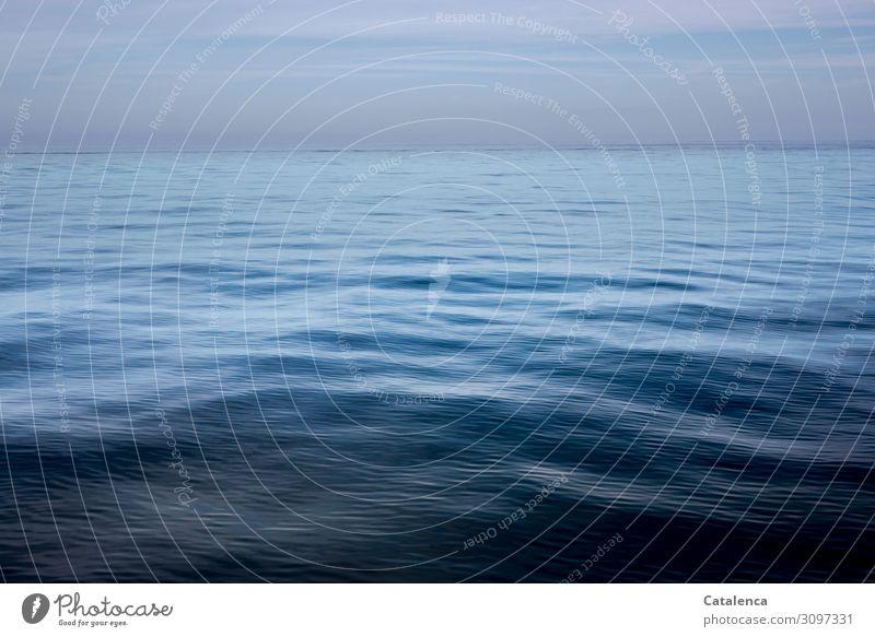 Frühmorgens liegt die blaue, tiefe  See noch still und ruhig vor uns, am Horizont verblasst allmählich das Morgenrot Meer Ocean Atlantik Wasser Wellen nass
