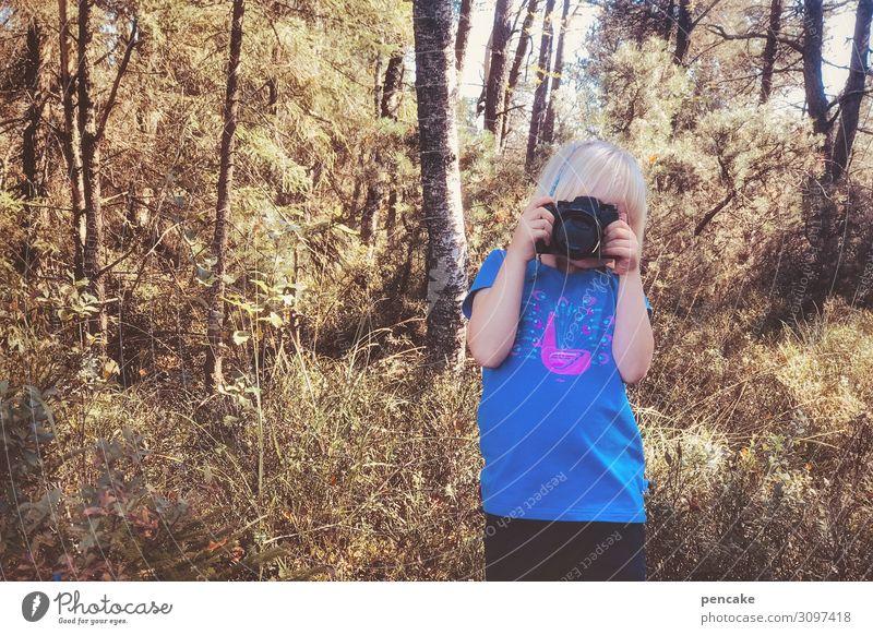wertvoll | ein schönes hobby Fotokamera Kind 3-8 Jahre Kindheit Natur Landschaft Herbst Schönes Wetter Wald wählen entdecken machen Fotografie Fotografieren