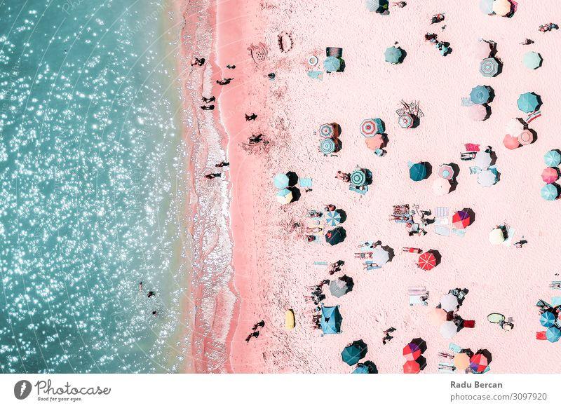 Menschenmenge am Strand, Luftaufnahme Schwimmen & Baden Ferien & Urlaub & Reisen Abenteuer Freiheit Sommer Sommerurlaub Sonnenbad Meer Wellen Umwelt Natur