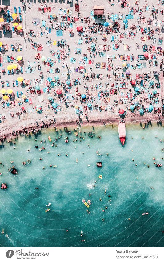 Menschenmenge am Strand, Luftaufnahme Schwimmen & Baden Ferien & Urlaub & Reisen Abenteuer Sommer Sommerurlaub Meer Wellen Umwelt Natur Landschaft Sand Wasser