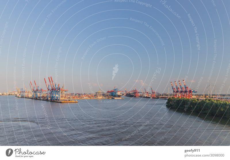 Containerhafen Hamburg Ferien & Urlaub & Reisen Tourismus Ausflug Abenteuer Ferne Sightseeing Städtereise Kreuzfahrt Wasser Himmel Wolken Horizont
