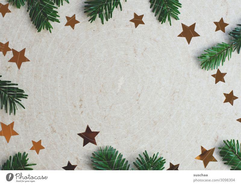 weihnachtliches dekozeugs (2) Weihnachten & Advent Tannenzweig Tannennadel Stern (Symbol) Sterne Weihnachtsdekoration Dekoration & Verzierung Postkarte