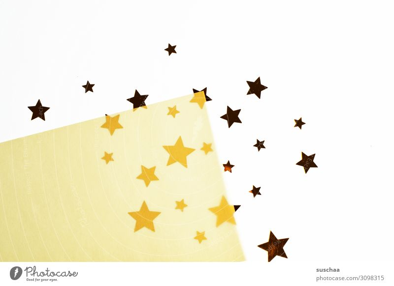 sterne Stern (Symbol) viele Weihnachten & Advent Symbole & Metaphern Postkarte glänzend mehrfarbig Papier 2-lagig transparent durchsichtig Farbunterschied