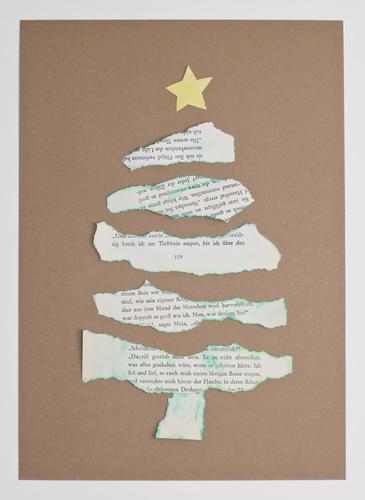 oh tannenbaum oh Tannenbaum Weihnachtsbaum Weihnachten & Advent Basteln Papier Zeitungspapier Postkarte Stern (Symbol) gerissen Hintergrund neutral Karte
