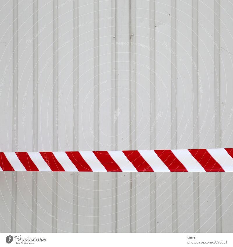 bitte weitergeh'n, hier gibt es nichts zu seh'n Mauer Wand Container Dekoration & Verzierung Flatterband Barriere Metall Stahl Kunststoff Zeichen