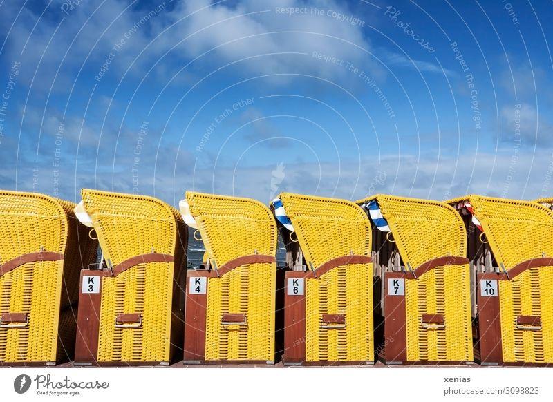 Urlaubsende Ferien & Urlaub & Reisen Tourismus Sommer Sommerurlaub Strand Himmel Wolken Küste blau braun gelb Strandkorb aufräumen aufgereiht Badeurlaub Reihe