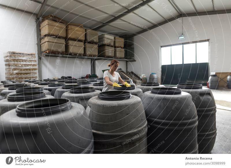 Fässer Frucht Arbeit & Erwerbstätigkeit Arbeitsplatz Fabrik Industrie Business Unternehmen Mensch Frau Erwachsene Pflanze Container Handschuhe alt wählen stehen