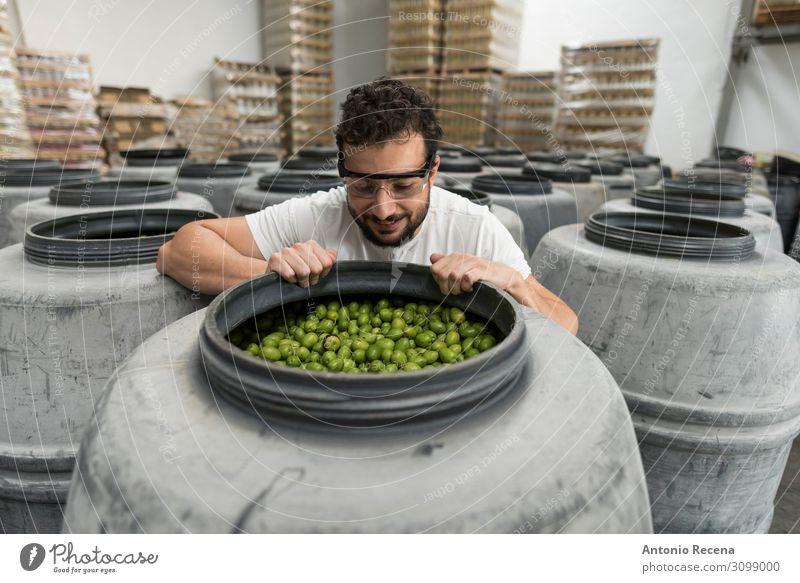 Riechen Sie die Oliven Frucht Arbeit & Erwerbstätigkeit Arbeitsplatz Fabrik Industrie Business Mensch Mann Erwachsene Container Handschuhe Verpackung Kunststoff