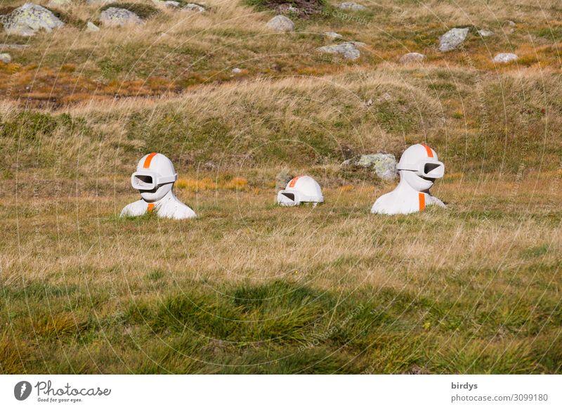 Erdtaucher androgyn 3 Mensch Kunst Kunstwerk Skulptur Schönes Wetter Wiese Hügel Felsen Alpen Schweiz Schwimmen & Baden tauchen authentisch außergewöhnlich