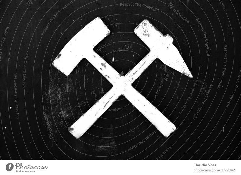 """Schägel und Eisen - Bergbau Zeichen Hinweisschild Warnschild """"Schlägel Bergbau"""" Arbeit & Erwerbstätigkeit Erfolg schwarz weiß Glück Kraft Tatkraft Solidarität"""