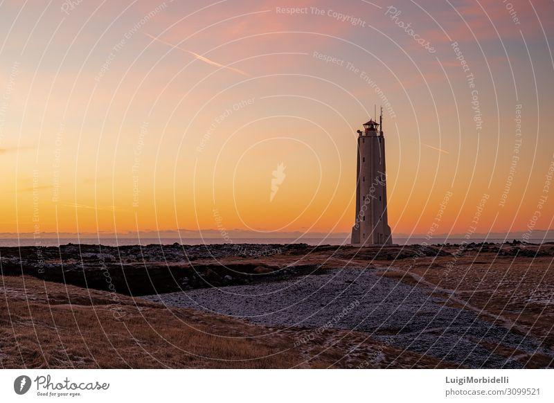 Malarrif Leuchtturm bei Sonnenuntergang, Island Ferien & Urlaub & Reisen Tourismus Meer Insel Schnee Natur Landschaft Himmel natürlich orange rot Farbe