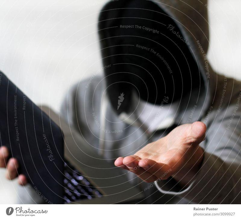 Ransomware: Hacker verlangt Geld hacken Büro Sicherheitslinie Computer Notebook Tastatur Technik & Technologie Informationstechnologie Internet maskulin