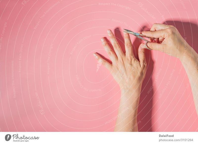 Nagelschneider Makrodetail rosa Hintergrund schön Körper Haut Maniküre Werkzeug Schere Mensch Frau Erwachsene Mann Hand Finger Metall Stahl glänzend Sauberkeit