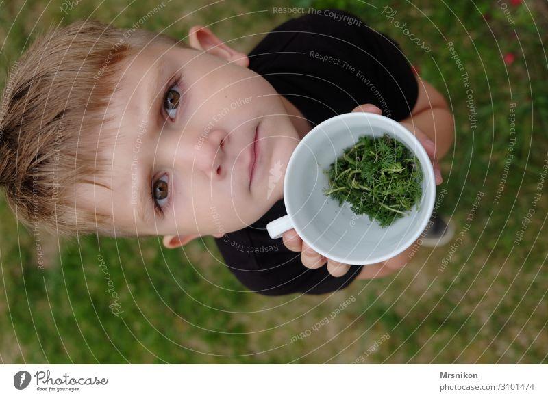 Tasse Kind Kleinkind Junge Kindheit Leben 1 Mensch 3-8 Jahre entdecken Blick frech Fröhlichkeit Glück natürlich Neugier Sohn Spielen Außenaufnahme zeigen Essen
