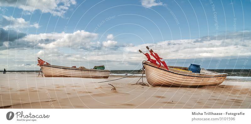 Fischerboote am Ostseestrand Ferien & Urlaub & Reisen Tourismus Strand Meer Natur Landschaft Sand Himmel Wolken Sonnenlicht Schönes Wetter Erholung natürlich