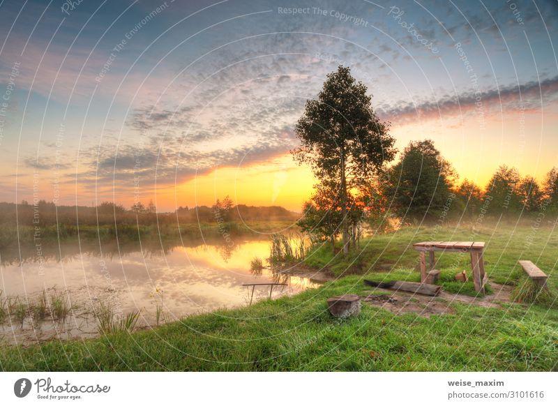 Platz für ein Picknick. Herbstdämmerung Szenenpanorama Ferien & Urlaub & Reisen Tourismus Ausflug Abenteuer Ferne Tisch Umwelt Natur Landschaft Luft Wasser