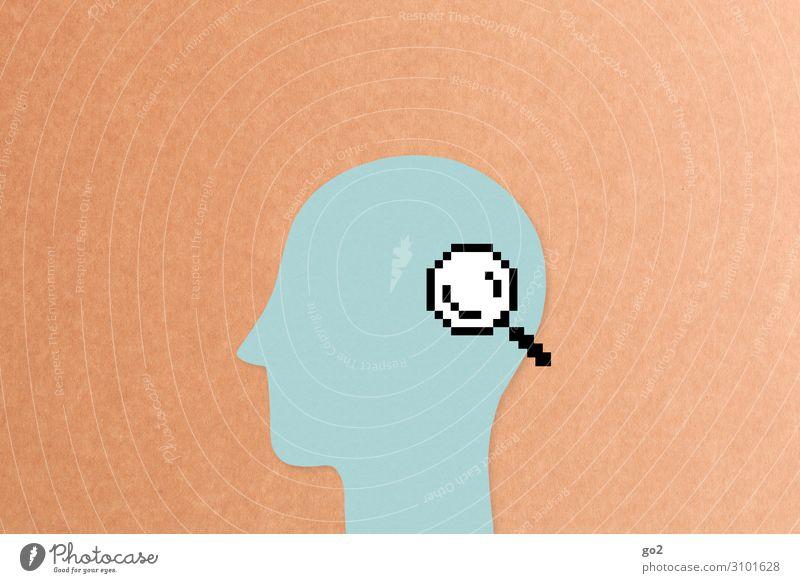 Lupe auf Kopf Bildung Wissenschaften Büroarbeit Fortschritt Zukunft Internet Mensch 1 Neue Medien Zeichen achtsam Wachsamkeit Genauigkeit Gesundheit Idee