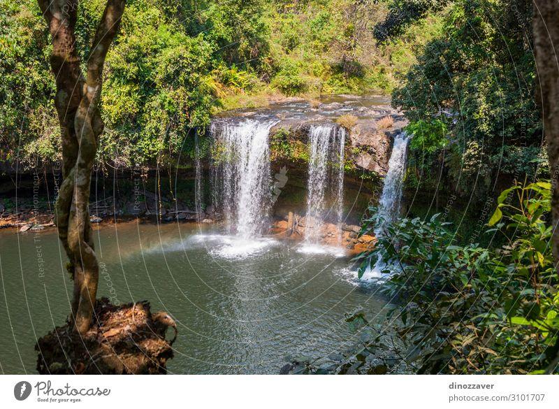 Thamchamp Pee Wasserfall, Paksong, Laos schön Ferien & Urlaub & Reisen Tourismus Berge u. Gebirge Umwelt Natur Pflanze Baum Wald Urwald Felsen Fluss Tropfen
