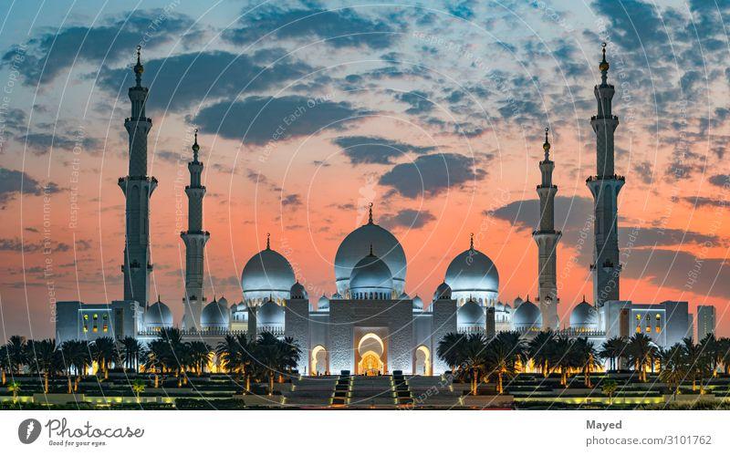 Scheich Zayed Große Moschee Reichtum exotisch Bildungsreise Kultur Sonnenaufgang Sonnenuntergang Klima Wetter Schönes Wetter Wärme Abu Dhabi