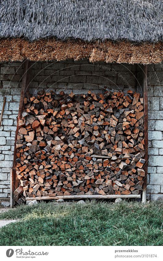 Brennholzscheite, die unter dem Steinschuppen gelagert werden. Holz authentisch Anhäufung Stapel Totholz Material Feuerstelle Baracke Wand Lager Nutzholz