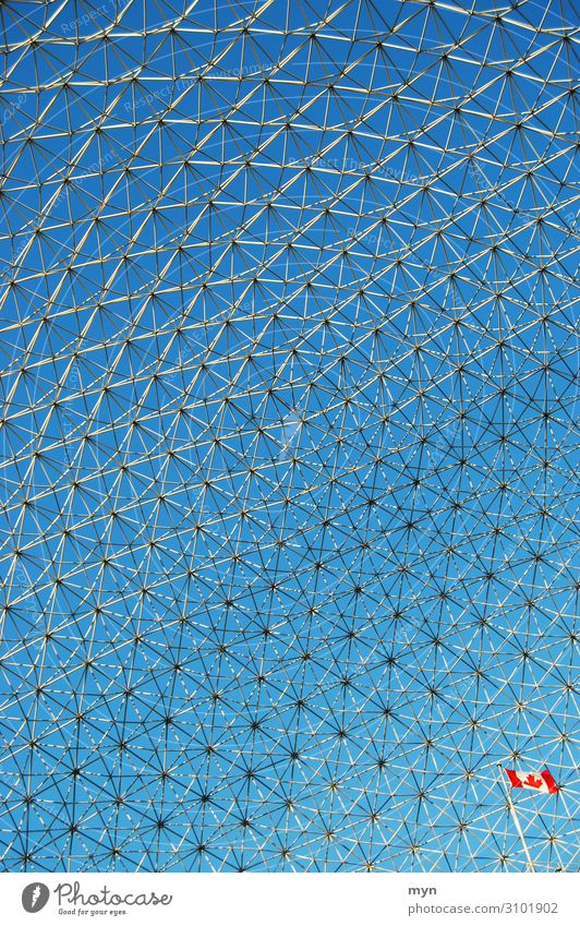 Netzwek Raster Dachkonstruktion US Pavillon Expo 1967 in Montreal Kanada Muster Himmel Stahlkonstruktion Vernetzung Netzwerk netzartig Flagge Bauwerk