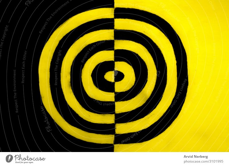 Schwarz-Gelb-Konzept abstrakt wach Kunst Hintergrund Transparente schwarz Vorsicht kreisen Farbe kreativ Kurve Gefahr Design dreckig graphisch Grunge