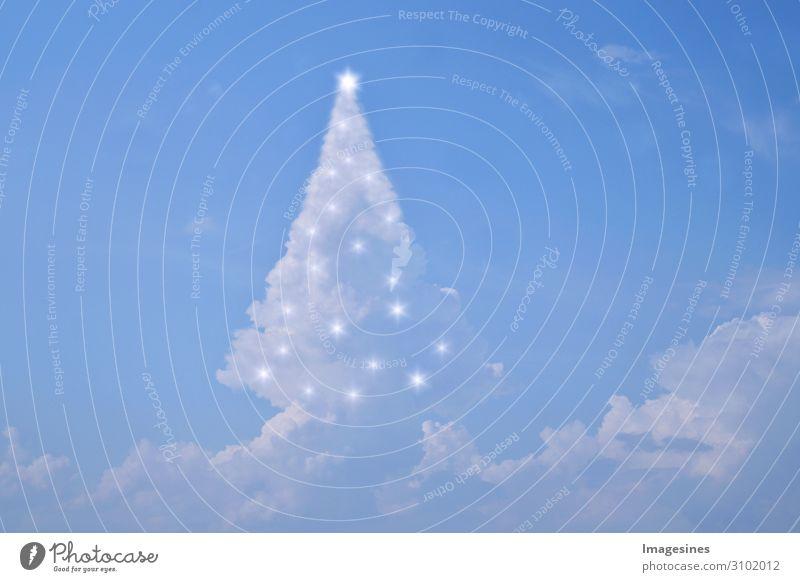 """Wolken Weihnachtsbaum mit Lichtern Weihnachten & Advent Silvester u. Neujahr Natur Himmel nur Himmel Wetter Vorfreude Stimmung """"Weihnachtsbaum  magisch"""