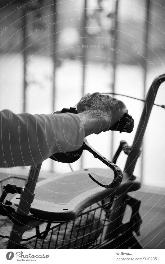 seniorenhand ruht auf einem rollator Hand alt Senior Rollator Alter Ruhestand festhalten Halt Griff ausruhen Pause Besinnung old age pension weibliche Seniorin