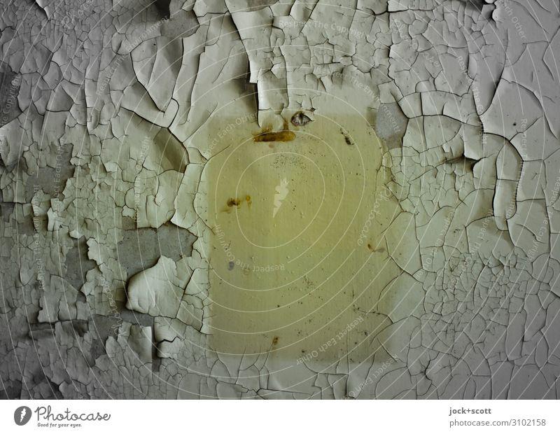 Zeitdruck Mauer Wand Dekoration & Verzierung Farbe Abdruck Rechteck Oberflächenstruktur authentisch eckig kaputt nah trist trocken gelb Stimmung bescheiden