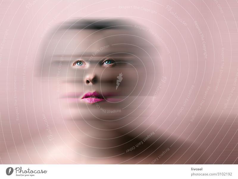 Schönheit in Rosa-Tönen, defokussiert Lifestyle schön Gesicht Erholung Mensch feminin Frau Erwachsene Weiblicher Senior Kopf Auge Nase Mund Lippen 1 45-60 Jahre