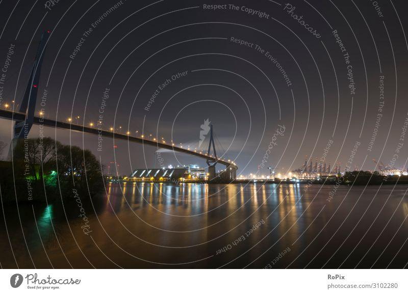 Blick über den Köhlbrand bei Nacht. Lifestyle Design Freizeit & Hobby Ferien & Urlaub & Reisen Tourismus Ferne Sightseeing Städtereise Wissenschaften