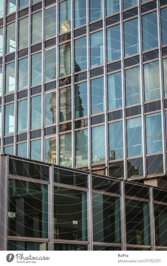 Spiegelung in einem Bürogebäude. Fassade Hochhaus Bürokomplex Reflektion Wirtschaft Immobilien Technik Architektur Stimmung Gewerbe Verwaltung