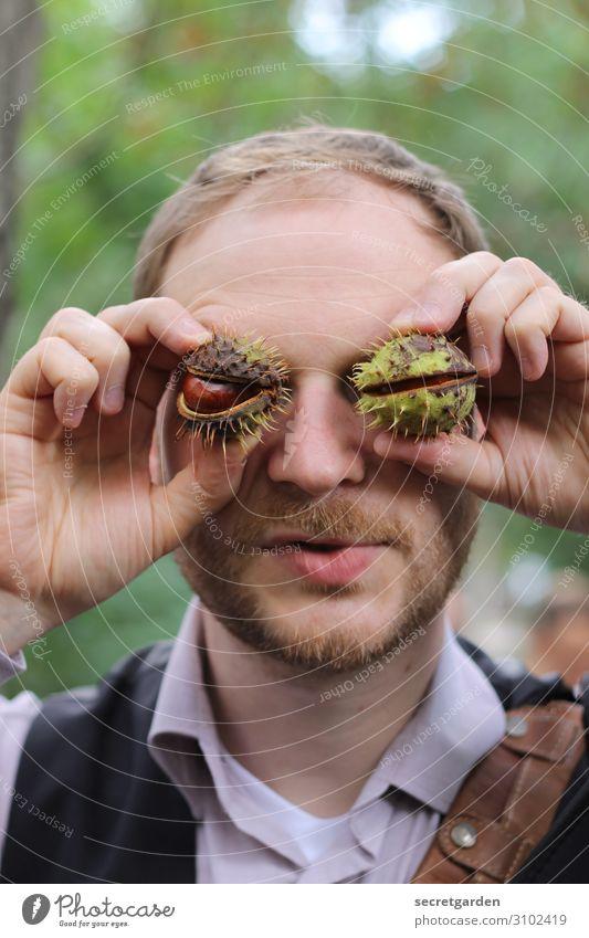 Gattung: Edelkastanie. Kastanie Vegetarische Ernährung Freude Spielen Mensch maskulin Mann Erwachsene Kopf Auge Hand Finger 1 30-45 Jahre Natur Herbst