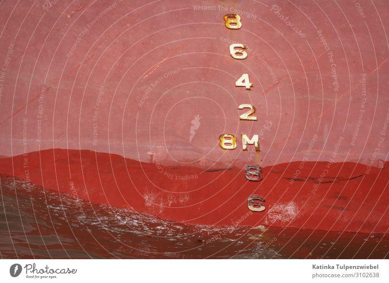 Tiefgang Verkehr Güterverkehr & Logistik Schifffahrt Containerschiff Öltanker Hafen Metall Wasser Zeichen rosa rot Industrie Business Hafenstadt Fluss