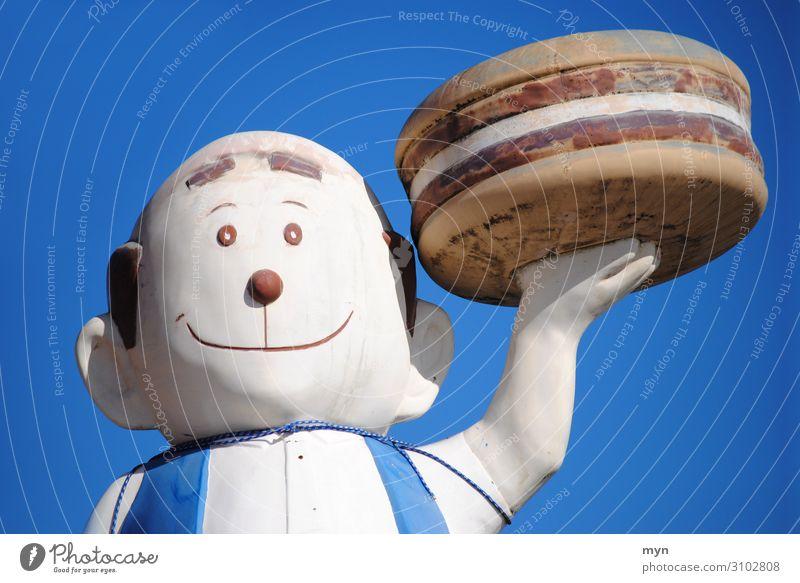 Große Figur - Werbung für einen Burger Laden Burgerbrötchen Burger Patty Statue burger Mann Kellner aufsteller lecker Snack Coney Island Burgerlove Mahlzeit