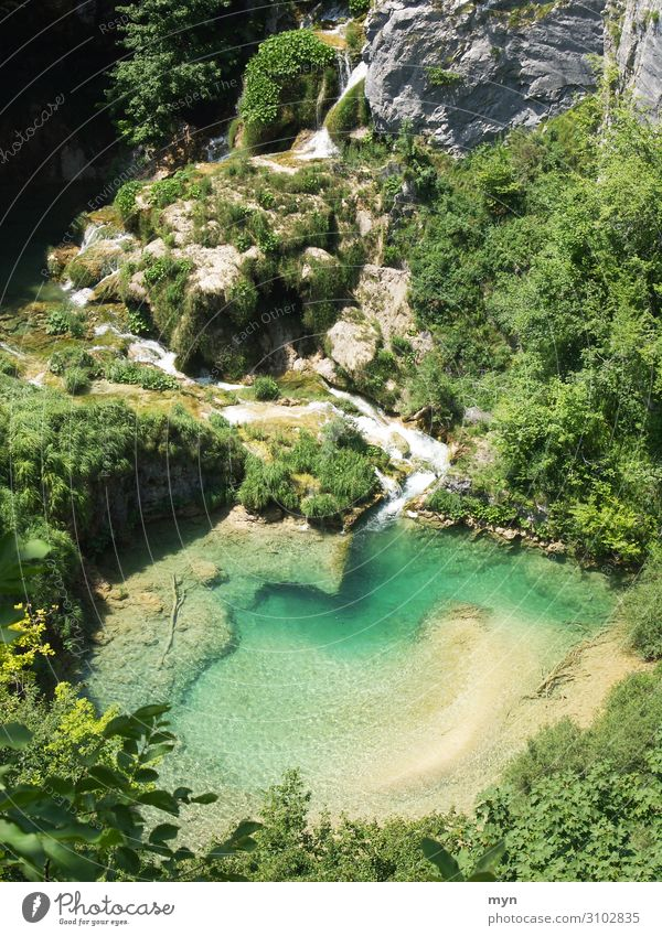 See im Plitvice Nationalpark Kroatien Natur Nationalpark Plitvicer Seen türkis Außenaufnahme Farbfoto Wasser Ferien & Urlaub & Reisen grün blau Wasserfall