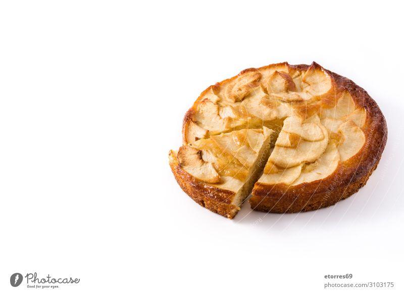 Hausgemachte Apfelkuchen auf weißem Hintergrund. Pasteten Dessert Backwaren Scheibe Frucht Lebensmittel Gesunde Ernährung Foodfotografie Herbst Teigwaren Torte