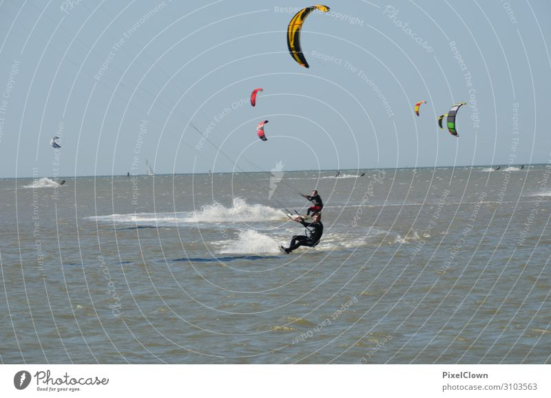 Wind surfing Lifestyle Stil Freude Freizeit & Hobby Ferien & Urlaub & Reisen Tourismus Sommerurlaub Strand Meer Wellen Sport Wassersport Schwimmen & Baden Mann
