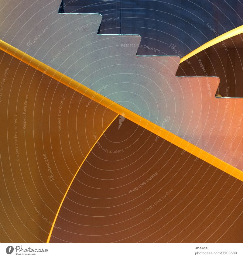Treppab Innenarchitektur Treppe Linie modern neu blau braun gelb grau orange Ordnung Perspektive Zukunft Farbfoto Innenaufnahme abstrakt Menschenleer
