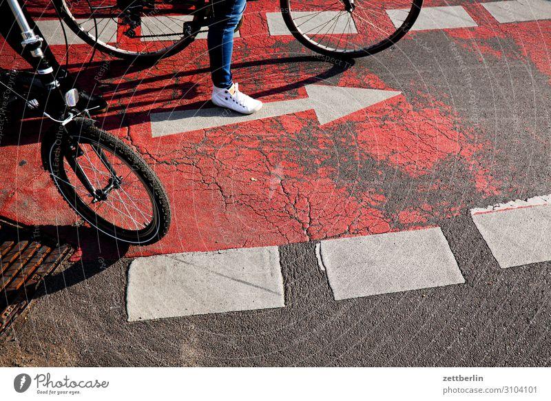 Fahrradweg Fahrradfahren Fahrradtour Straßenkreuzung Wegkreuzung abbiegen Verkehr Straßenverkehr Pfeil Orientierung warten stehen Regel Verkehrsregel