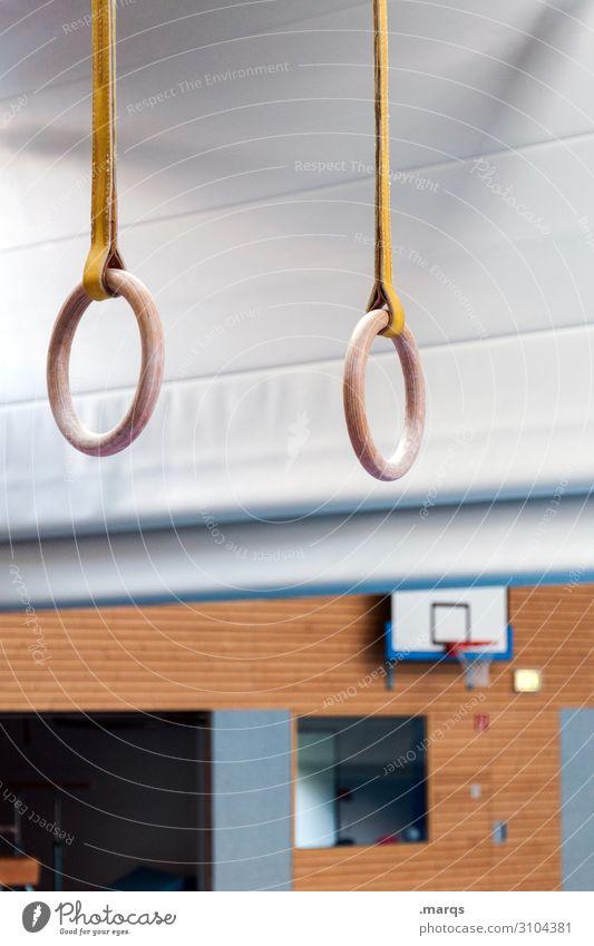 Ringe Sport Sportstätten Sporthalle Kunstturnen Turnen Gesundheit Farbfoto Innenaufnahme Menschenleer Kunstlicht