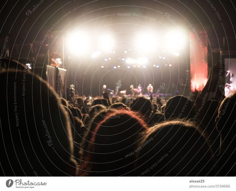 Menschen, die nachts ein Musikkonzert im Freien genießen. Freude Glück Nachtleben Entertainment Tanzen Publikum Menschengruppe Konzert Band Musiker Felsen