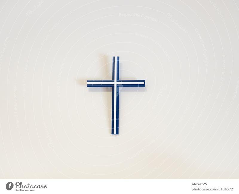 Blau-weißes katholisches Kreuz an einer Wand Ostern Kunststoff blau Hoffnung Tod Glaube Religion & Glaube Hintergrund Katholizismus Christus Christentum Entwurf