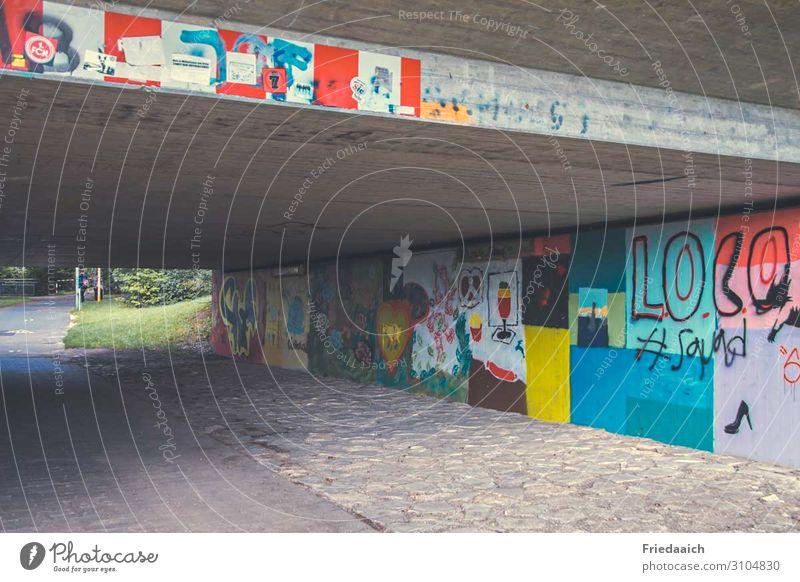 Farbe unter der Brücke Freizeit & Hobby Kunst Maler Kunstwerk Tunnel Architektur Mauer Wand Verkehrswege Fahrradfahren Fußgänger Beton Schriftzeichen Ornament